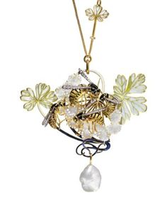 AN ART NOUVEAU ENAMEL, DIAMOND AND PEARL PENDENT NECKLACE, BY RENÉ LALIQUE Depicting four gold and enamel wasps with diamond wings, set on a window enamel and opalescent glass hawthorn branch, suspending a baroque pearl, to the chain set with two window enamel leaves, 1899-1909;  sold. CHF 972,500;  11/13/17.