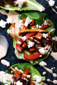 Sheet Pan Roasted Vegetable Fajita Lettuce Wraps with Chipotle Crema