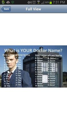 Mine is The Doctor Wait......>>> Oh that's clever!