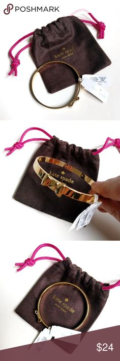 "Kate Spade Take a Bow Gold Bracelet Cute little bangle to add to any arm party! It is gold toned and slips over the wrist (there is no closure). There is a light scratch (see pic 4) that I did not notice until creating this listing. Inside is stamped ""kate spade new york"". Includes drawstring dust bag. Sorry, no trades. kate spade Jewelry Bracelets"