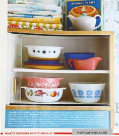 So very excited to see yay retro!'sproducts in the July 13 issue of Home andAntiquesmagazine! Some of our vintagePyrex, 50s egg cups & Poole Potteryand 60s Tupperware has been included in the Kitchenware Addicts article...