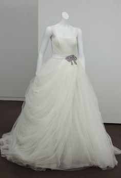 Brides: White by Vera Wang - Fall 2012. Sleeveless layered organza ball gown wedding dress with a square neckline and beaded detail on the belt, White by Vera Wang