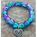Dark Teal Purple Shatter Cuff Bracelet with silver heart Rustic Style Bella Cuff Disco Ball Pave