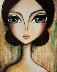 Doll Painting, Painting & Drawing, Art Journal Inspiration, Painting Inspiration, Anna Concept Art, Big Eyes Paintings, Pop Art, Frida Art, Abstract Face Art