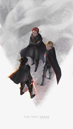 """lyhaonguyen: """" Young First Order trio wip~ view from above is hard to draw """" reblog myself cause i'm done with it D:"""