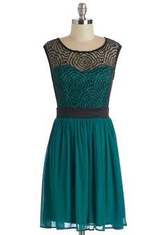 Starlet's Web Dress in Jade - Exclusives, Variation, Green, Black, Prom, Party, Homecoming, A-line, Lace, Sleeveless, Sheer, Woven, Tulle, Scoop, Mid-length, Solid, Wedding, Bridesmaid-ModCloth