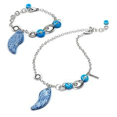 Ceramic feather charm bracelet and necklace set. Sold individually. #Fapos