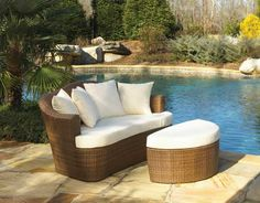 Panama Jack Outdoor Key Biscayne Daybed with Cushion Outdoor Wicker Furniture, Outdoor Sofa, Outdoor Spaces, Outdoor Living, Outdoor Decor, Furniture Decor, Poolside Furniture, Lounge Furniture, Outdoor Seating