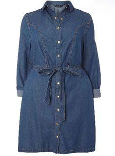 Dorothy Perkins Womens DP Curve Plus Size Indigo Denim Shirt Indigo long sleeve denim collared shirt dress. Self-tie helps define and flatter the wearers sil. 100% Cotton. Machine washable. http://www.MightGet.com/january-2017-13/dorothy-perkins-womens-dp-curve-plus-size-indigo-denim-shirt.asp