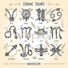 Vector Art : Set of hippie and bohemian style hand drawn zodiac signs