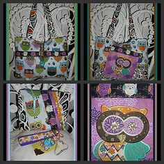 "MODERN OWL ""WHO"" wouldn't love these OWLS PURSE SET cosmetic case Key Fob"
