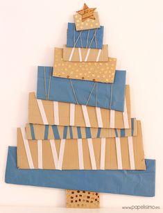 ¿Quieres hacer tu propio árbol de Navidad con material reciclado? Sólo necesitas cartón y papel para hacer este árbol de Navidad para colgar en la pared. Perfecto para un pasillo o espacios reducidos. ¿Has visto la decoración de Navidad a mano que puedes hacer reciclando? MATERIALES: Cajas de cartón. Papel de colores....