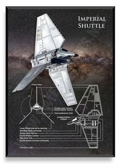Imperial Shuttle Poster Star Wars Ship Star by PatentPrintsPosters