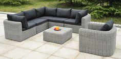 Salon de jardin résine tressée ronde luxe design 7 pièces-SDJ503W