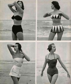 Lovely beach wear from the 50s. My favorite is the top left. So, so lovely.