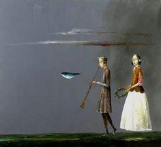Ștefan a contemporary Romanian painter)「Blue Bird Magic Realism, Art Database, Couples In Love, Book Illustration, Musical, Blue Bird, Illustrators, Contemporary Art, Unicorn