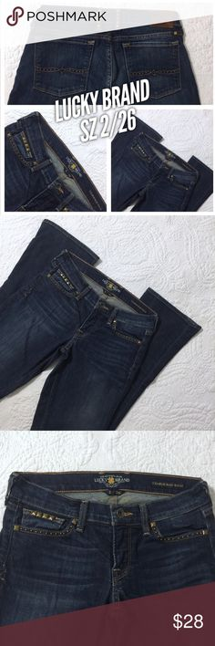 Sz 2 / 26 Studded Lucky Brand Baby Boot Jeans These Lucky brand Charlie baby boot jeans are in great condition! Size 2 / 26. Style #7W11242 Wash: OL FERN Cut #LBD0533. There is hardly any visible wear. No missing studs. Lucky Brand Jeans Boot Cut