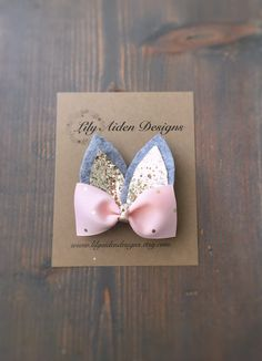 Easter hair clip/ Bunny clip/ Bunny ear clip/ girls hair clip by LilyAidenDesigns on Etsy