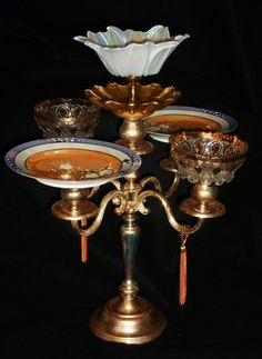 Sterling silverplated 5-prong candelabra, Japanese irredescent blue/peach glazed plates, clear cut glass formed bowls, fluted bowls