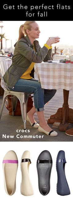 Crocs New Commuter Plain Strap Flat Women's Flat Shoes Summer Work Outfits, Outfit Summer, Clothes Horse, Work Clothes, Crocs Shoes Women, Crocs Flats, Professional Shoes, Flats Outfit, Fall Capsule