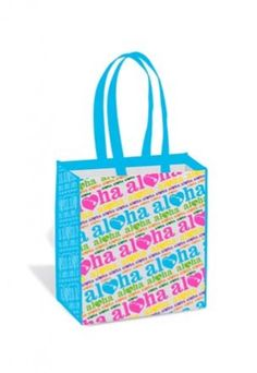 "Help reduce and reuse by shopping with our stylish and practical Heart of Hawaii Techno Small Island Tote. These sturdy bags feature colorful designs and durable construction. Measures approximately 13"" x 12-3/4"" x 8"" and features a reinforced board bottom. $4.99"