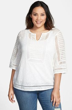Lucky+Brand+Lace+Inset+Top+(Plus+Size)+available+at+#Nordstrom
