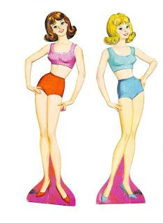 1963 Whitman paper doll Midge, Best Friend of Barbie Cut-Outs paper dolls.  includes two dolls, one brown...