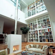 Double height living space open shelving book cases living space