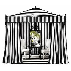 I so want this!!! Portofino Pavilion, exclusive to Z Gallerie, is a great way to entertain outdoors, providing a suitable amount of shade. Large black threaded tassels are suspended from each corner. All four sides may be unzipped to expose the interior. Easy to assemble and disassemble making it a perfect temporary or permanent addition to any backyard or patio. $699.00