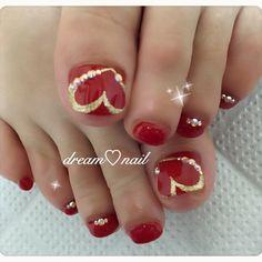 Red pedicure designs toenails valentine nails ideas for 2019 Pedicure Nail Art, Toe Nail Art, Manicure And Pedicure, French Pedicure, Pretty Toe Nails, Cute Toe Nails, Glitter Toe Nails, Gold Nails, Diy Nails