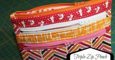 Triple Zip Bag - see this tutorial to make into crossbody bag http://www.randomthoughtsdoordi.com/2013/02/triple-zip-cross-body-bag.html
