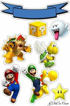 Super Mario Bros, Super Mario Birthday, Mario Birthday Party, Super Mario Party, Bolo Do Mario, Bolo Super Mario, Mario Crafts, Mario E Luigi, Digital Paper Free