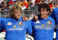 Italy's centre Mirco Bergamasco (L) and his brother flanker Mauro Bergamasco are pictured 18 August 2007 before the friendly match Italy vs Japan at Perucca Stadium in Saint Vincent. France will host the Rugby World Cup from 07 September until 20 October 2007. Italy will play New Zealand in Marseille and Japan against Australia in Lyon next 08 september for their first World Cup matches.
