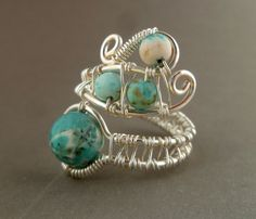 Wire Wrapped ring // turquoise magnesite by PillarOfSaltStudio