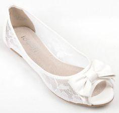 Benjamin Adams Halle Flat Bridal Peep Toe Shoe Wedding Shoes 61 ...