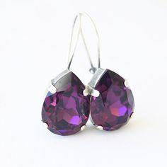 Purple Swarovski Crystal Antique Silver Plated by bySarahJohanna
