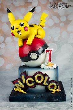 Happy Birthday my love Pikachu for you (first cake Saracino Cerart, Polifantasy di JF – Sugarfantasy Pokemon Torte, Pokemon Go Cakes, Pokemon Cake Pops, Pokemon Themed Party, Pokemon Birthday Cake, Birthday Cartoon, Fete Laurent, Happy Birthday My Love, Birthday Cakes