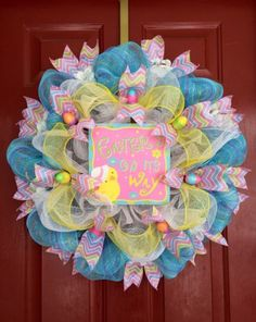 Large Easter Deco Mesh Wreath With Chevron Ribbon