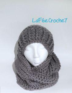 Ensemble tuque slouchy et écharpe en cercle infinie, bonnet et foulard  chunky et très tendance 1f5c5153d80