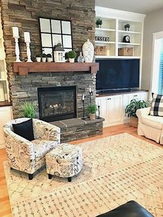 Love the fireplace decor and Traditional Living Room Design Fireplace Built Ins, Farmhouse Fireplace, Home Fireplace, Living Room With Fireplace, Fireplace Design, Fireplace Mantels, Off Center Fireplace, Stone Fireplace Decor, Mantles