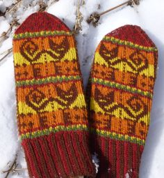 Inca cat mittens pattern. Incan textiles from Peru were the inspiration for the motif designs on these mittens. The cat and the border pattern come from a garment panel, while the design on the palm was loosely adapted from a poncho.  http://www.ravelry.com/patterns/library/inca-cat-mittens http://www.etsy.com/shop/KunstwerkDesigns