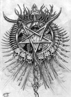 All About Art Tattoo Studio Rangiora. Quality work by Professional Artist. Satanic Tattoos, Satanic Art, Dark Art Drawings, Tattoo Drawings, Hand Tattoo, Wrist Tattoo, Devil Tattoo, Evil Art, Demon Art