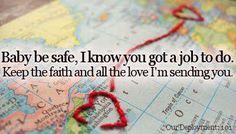 ---map stitched in red for soldier long distance love: we both have jobs to do. The military takes us far from each other but every day my heart and thoughts are with you. Airforce Wife, Navy Girlfriend, Military Girlfriend, Military Love, Army Love, Military Spouse, Military Relationships, Oilfield Girlfriend, Missionary Girlfriend