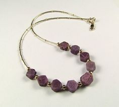 Sapphire Natural Lavender Crystals Necklace - N474