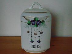 Stará velká dóza porcelánová- secese - fialky