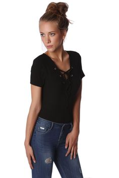 Black Ribbed Body With Lace-Up Front