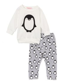 Look what I found on #zulily! wind + thistle White & Gray Penguin Top & Leggings Set - Infant & Toddler by wind + thistle #zulilyfinds