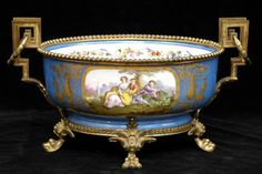 GILT BRONZE MOUNTED SEVRES PORCELAIN CENTERPIECE 9 x 15 3/4 x 8 1/4 in.