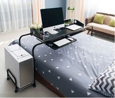 Home Movable Adjustable Laptop Computer Desk Table Over Bed Storage For Double #HLC #Modern