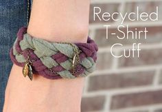 Weave in some charms on a chain to dress up braided strips of old t-shirts and make a snazzy bracelet!